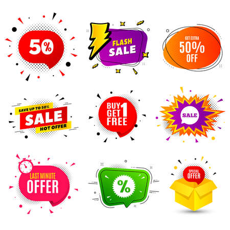 Get Extra 50% off Sale. Banner badge, flash sale bubble. Discount offer price sign. Special offer symbol. Save 50 percentages. Last minute offer. Sticker badge, comic bubble. Discounts box. Vector