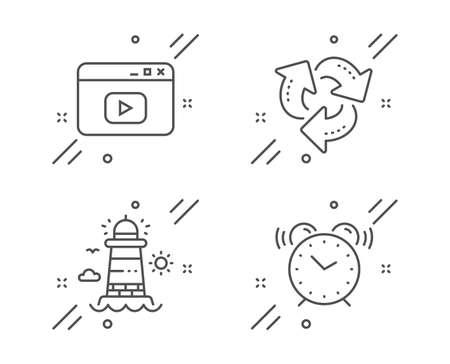 Lighthouse, Recycle and Video content line icons set. Alarm clock sign. Beacon tower, Recycling waste, Browser window. Time. Line lighthouse outline icon. Vector  イラスト・ベクター素材