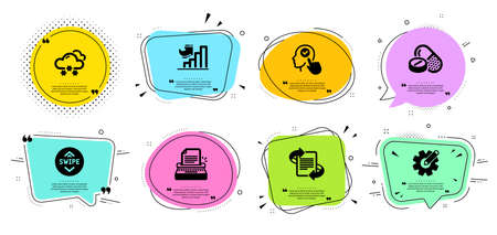 Medical drugs, Growth chart and Snow weather line icons set. Chat bubbles with quotes. Swipe up, Cogwheel and Marketing signs. Typewriter, Select user symbols. Medicine pills, Diagram graph. Vector Çizim