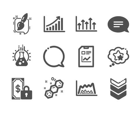 Set of Education icons, such as Private payment, Speech bubble, Painting brush, Trade chart, Growth chart, Shoulder strap, Report document, Ranking stars, Chat, Chemical formula. Vector