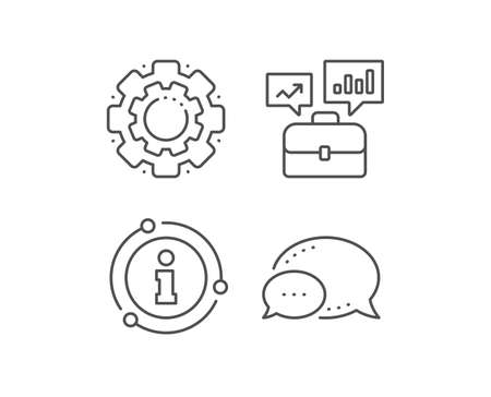 Business portfolio with Growth charts line icon. Chat bubble, info sign elements. Job Interview sign. Linear business portfolio outline icon. Information bubble. Vector