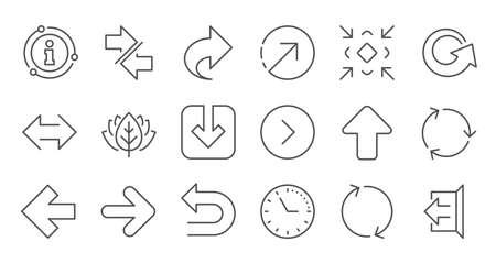 Arrow icons. Download, Synchronize and Share. Navigation linear icon set. Quality line set. Vector Illusztráció