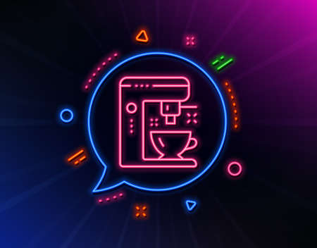 Coffee maker line icon. Neon laser lights. Tea machine sign. Hotel service symbol. Glow laser speech bubble. Neon lights chat bubble. Banner badge with coffee maker icon. Vector 向量圖像