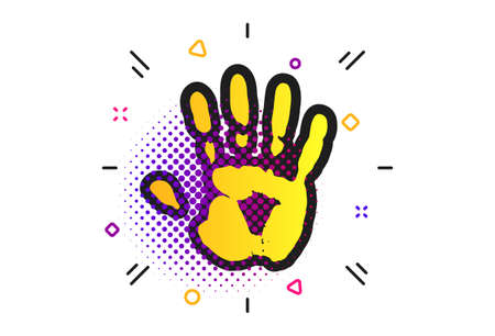 Hand print sign icon. Halftone dots pattern. Stop symbol. Classic flat hand print icon. Vector Illustration