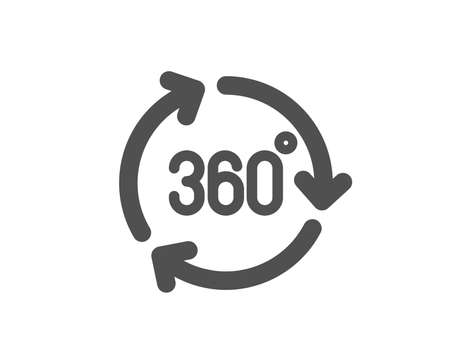 VR technology simulation sign. 360 degree icon. Panoramic view symbol. Classic flat style. Simple 360 degree icon. Vector