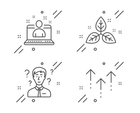 Support consultant, Fair trade and Best manager line icons set. Swipe up sign. Question mark, Leaf, Best developer. Scrolling arrow. Science set. Line support consultant outline icon. Vector