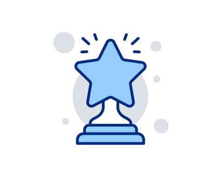 Rank star line icon. Success reward symbol. Best result sign. Winner cup. Linear design sign. Colorful winner icon. Vector Illustration