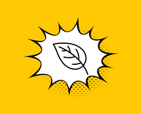Leaf line icon. Comic speech bubble. Nature plant sign. Environmental care symbol. Yellow background with chat bubble. Leaf icon. Colorful banner. Vector Banque d'images - 131048214