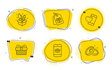Gift, Creativity and Wedding rings signs. Chat bubbles. Heart, Smartphone buying and Coupons line icons set. Love call, Website shopping, Shopping tags. Present. Holidays set. Line heart icon. Vector Illustration