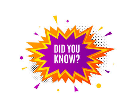 Did you know. Banner badge, offer sticker. Special offer question sign. Interesting facts symbol. Did you know banner. Sticker badge. Vector Illustration