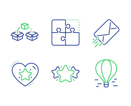 Ranking star, E-mail and Puzzle line icons set. Parcel shipping, Star and Air balloon signs. Love rank, Mail delivery, Engineering strategy. Send box. Technology set. Vector