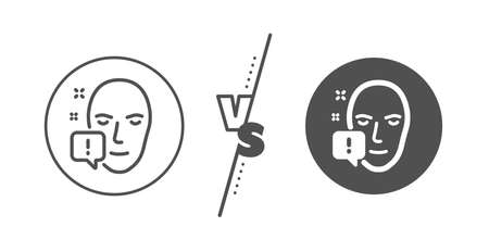 Exclamation mark sign. Versus concept. Face attention line icon. Facial identification info symbol. Line vs classic face attention icon. Vector