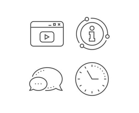 Browser Window line icon. Chat bubble, info sign elements. Video content sign. Internet page symbol. Linear video content outline icon. Information bubble. Vector