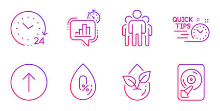 Organic product, Swipe up and 24 hours line icons set. No alcohol, Group and Statistics timer signs. Quick tips, Hdd symbols. Leaf, Scroll screen. Science set. Gradient organic product icon. Vector