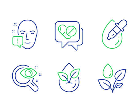 Face attention, Vision test and Medical drugs line icons set. Eye drops, Organic product and Plants watering signs. Exclamation mark, Eyesight check, Medicine pills. Pipette. Healthcare set. Vector