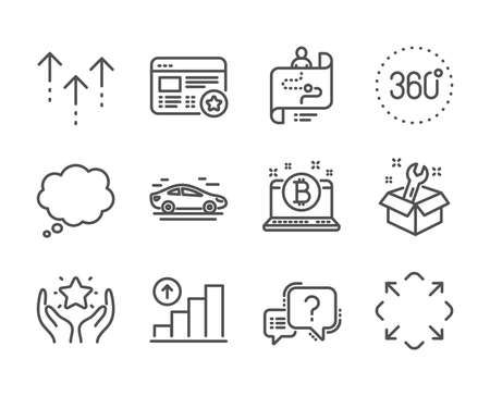 Set of Technology icons, such as Journey path, 360 degrees, Question mark, Maximize, Ranking, Favorite, Swipe up, Car, Graph chart, Comic message, Bitcoin, Spanner line icons. Vector