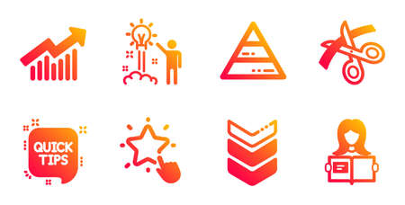Shoulder strap, Demand curve and Scissors line icons set. Quick tips, Ranking star and Creative idea signs. Pyramid chart, Woman read symbols. Army rank, Statistical report. Education set. Vector
