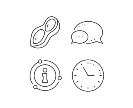 Peanut line icon. Chat bubble, info sign elements. Tasty nut sign. Vegan food symbol. Linear peanut outline icon. Information bubble. Vector Illustration