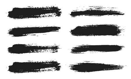 Set di linee di pennello. Vernice nera vettoriale, pennellata di inchiostro. Elemento di design artistico sporco. Dash pennello inchiostro nero. Tratto di disegno del grunge. Cornice o sfondo per il testo. Insieme di vettore Vettoriali