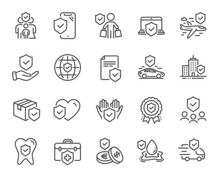 Insurance line icons. Health care, risk, help service. Car accident, flood insurance, flight protection icons. Safety document, money savings, delivery risk. Car full coverage. Vector Banque d'images - 131087567