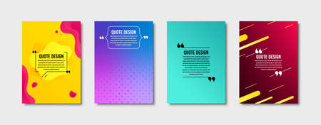 Quote frames templates set. Citation empty speech bubbles, text in brackets. Textbox quote bubbles. Minimal page covers with colorful design. Diagonal lines patterns. Liquid geometric badge. Vector