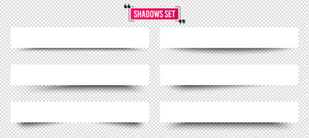 Banner shadows set. Page dividers on transparent background. Realistic shadows template. Three-dimensional volume behind an object or page. Quote frame design. Vector 3d banner template