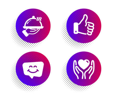 Like hand, Smile chat and Restaurant food icons simple set. Halftone dots button. Hold heart sign. Thumbs up, Happy face, Room service. Friendship. People set. Classic flat like hand icon. Vector