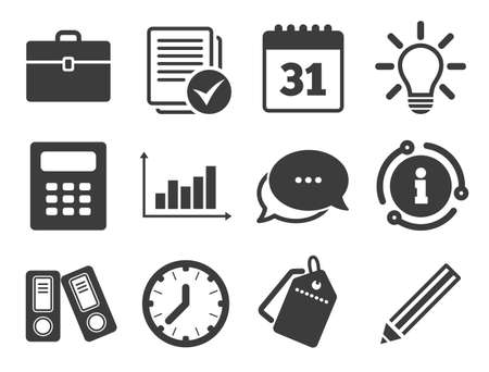 Accounting, calculator and case signs. Discount offer tag, chat, info icon. Office, documents and business icons. Ideas, calendar and statistics symbols. Classic style signs set. Vector Ilustração