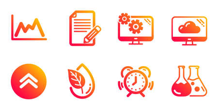 Article, Diagram and Swipe up line icons set. Organic product, Settings and Time management signs. Cloud storage, Chemistry lab symbols. Feedback, Growth graph. Science set. Vector