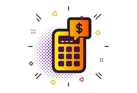 Accounting sign. Halftone circles pattern. Calculator icon. Calculate finance symbol. Classic flat calculator icon. Vector 向量圖像
