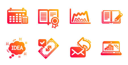 Trade chart, Idea and Share mail line icons set. Diploma, Accepted payment and Calendar signs. Feedback, Graph laptop symbols. Market data, Creative message. Education set. Vector