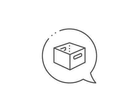Office box line icon. Chat bubble design. Delivery parcel sign. Cargo package symbol. Outline concept. Thin line office box icon. Vector Иллюстрация