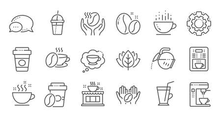 Coffee line icons. Beans, hot cocktail and coffee maker machine. Espresso cup, cappuccino line icons. Latte vending machine and roasted beans. Linear set. Quality line set. Vector Иллюстрация