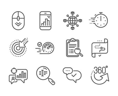 Set of Technology icons, such as Scroll down, Target path, Cooking timer, 360 degrees, Logistics network, Graph phone, Seo statistics, Search analysis, Targeting, Approved, Search text. Vector