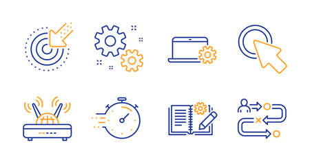 Timer, Work and Engineering documentation line icons set. Targeting, Notebook service and Click here signs. Wifi, Journey path symbols. Deadline management, Settings. Science set. Vector
