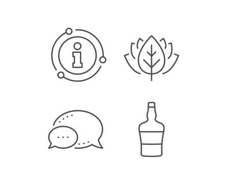 Scotch bottle line icon. Chat bubble, info sign elements. Brandy alcohol sign. Linear scotch bottle outline icon. Information bubble. Vector Ilustração