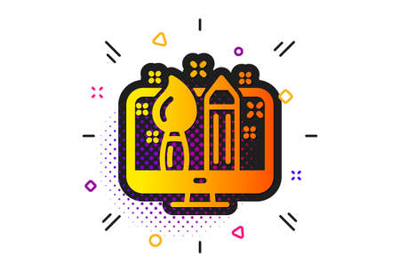 Graphic designer sign. Halftone circles pattern. Creative design icon. Brush and pencil symbol. Classic flat creative design icon. Vector