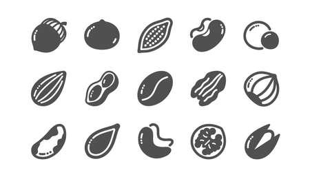 Symbole für Nüsse und Samen. Haselnuss, Mandelnuss und Erdnuss. Walnuss, Paranuss, Pistazien-Symbole. Kakao und Cashewnüsse. Klassisches Set. Qualitätsset. Vektor Vektorgrafik