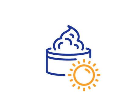 Skin care sign. Sun face cream line icon. Cosmetic lotion symbol. Colorful outline concept. Blue and orange thin line sun cream icon. Vector