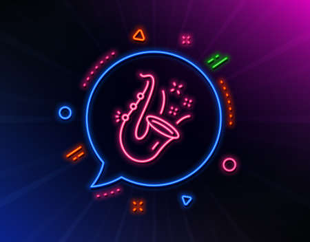 Jazz line icon. Neon laser lights. Saxophone Musical instrument sign. Music symbol. Glow laser speech bubble. Neon lights chat bubble. Banner badge with jazz icon. Vector