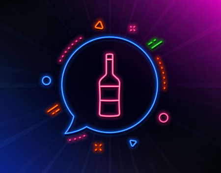 Wine bottle line icon. Neon laser lights. Merlot or Cabernet Sauvignon sign. Glow laser speech bubble. Neon lights chat bubble. Banner badge with wine icon. Vector