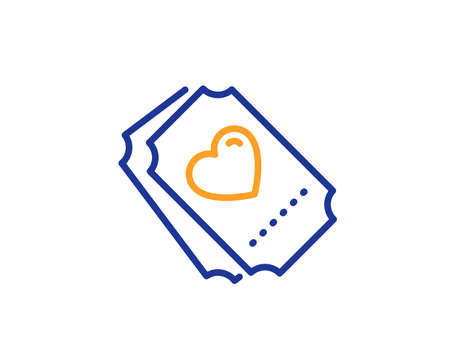 Heart emotion sign. Love ticket line icon. Valentine day symbol. Colorful outline concept. Blue and orange thin line love ticket icon. Vector