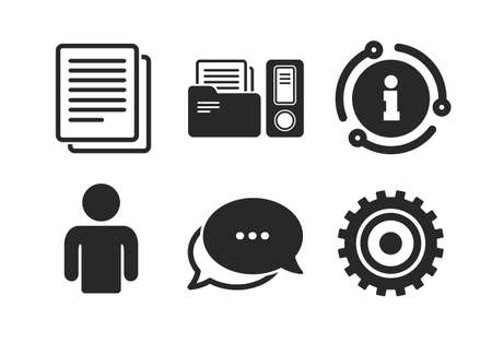 Human silhouette, cogwheel gear and documents folders signs symbols. Chat, info sign. Accounting workflow icons. Classic style speech bubble icon. Vector Ilustracja