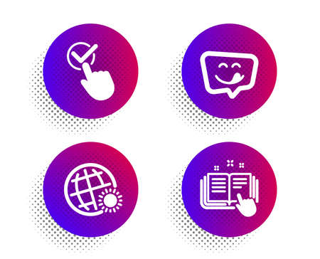 Yummy smile, Checkbox and World weather icons simple set. Halftone dots button. Technical documentation sign. Emoticon, Approved, Sunny. Manual. Business set. Classic flat yummy smile icon. Vector Ilustração