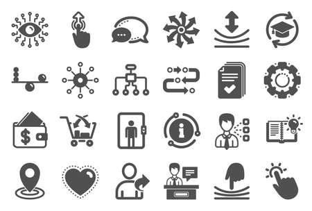 Inteligencia artificial, equilibrar y referir a un amigo iconos. Formación continua, Metodología y Señalización de expositores. Deslizar hacia arriba, iconos de inteligencia artificial y elástica. Vector