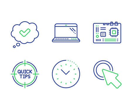 Laptop, Tips and Time management line icons set. Approved, Motherboard and Click here signs. Computer, Quick tricks, Office clock. Comic message. Technology set. Line laptop outline icons. Vector