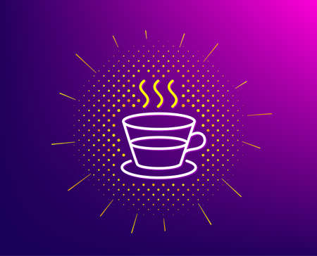 Coffee and Tea line icon. Halftone pattern. Hot drink sign. Fresh beverage symbol. Gradient background. Coffee cup line icon. Yellow halftone pattern. Vector Иллюстрация