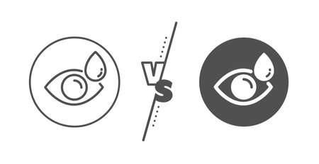 Oculist clinic sign. Versus concept. Eye drops line icon. Optometry vision symbol. Line vs classic eye drops icon. Vector Zdjęcie Seryjne - 131503466