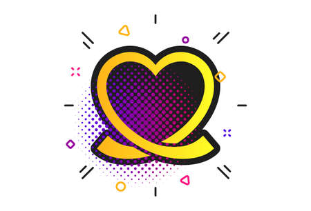 Heart ribbon sign icon. Halftone dots pattern. Love symbol. Classic flat heart icon. Vector