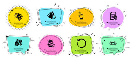 Recovery data, Time management and Music phone line icons set. Chat bubbles with quotes. Car, Idea gear and Touchscreen gesture signs. Smile, Cogwheel symbols. Backup info, Clock tags. Vector